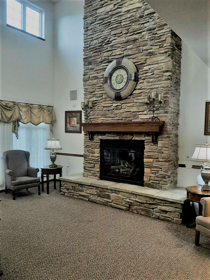 Portage Front Living Room with Fireplace